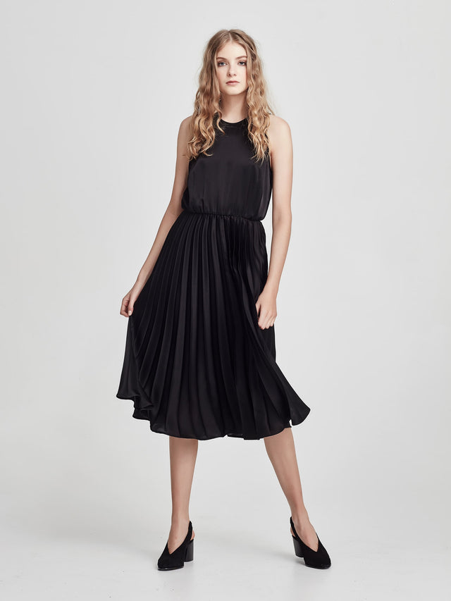 311d6ea061ca ... Francis Pleat Dress (Pleated Satin) Black