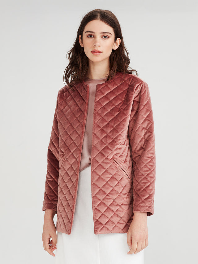Smoking Jacket (Diamond Quilt Velvet) Rose