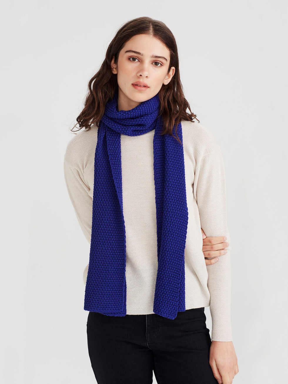 Moss Stitch Scarf (Merino Knit) Electric Blue