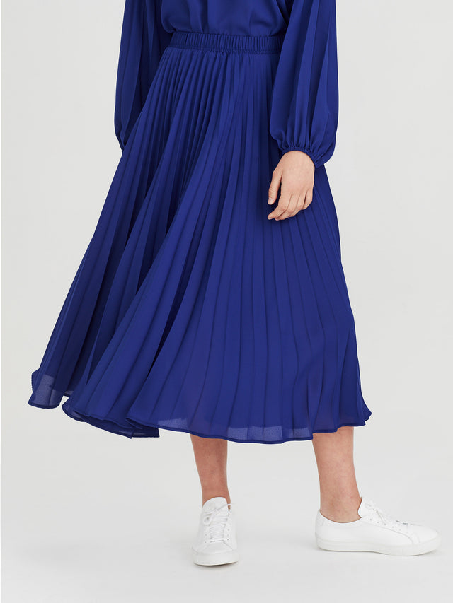 Alpha Pleat Skirt (Matte Pleat) Electric Blue