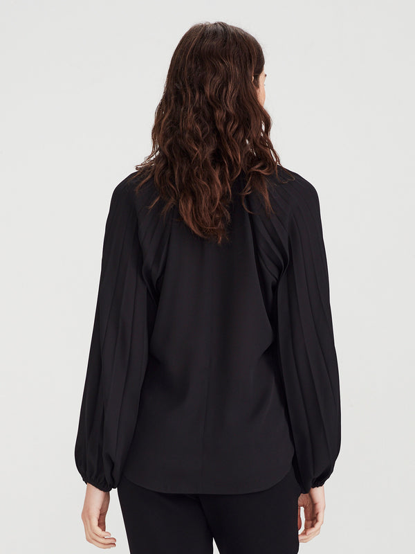 Cameron Pleat Blouse (Matte Pleat) Black