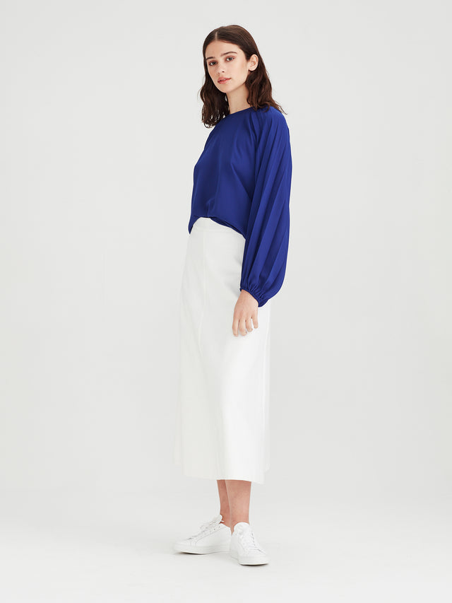 Cameron Pleat Blouse (Matte Pleat) Electric Blue