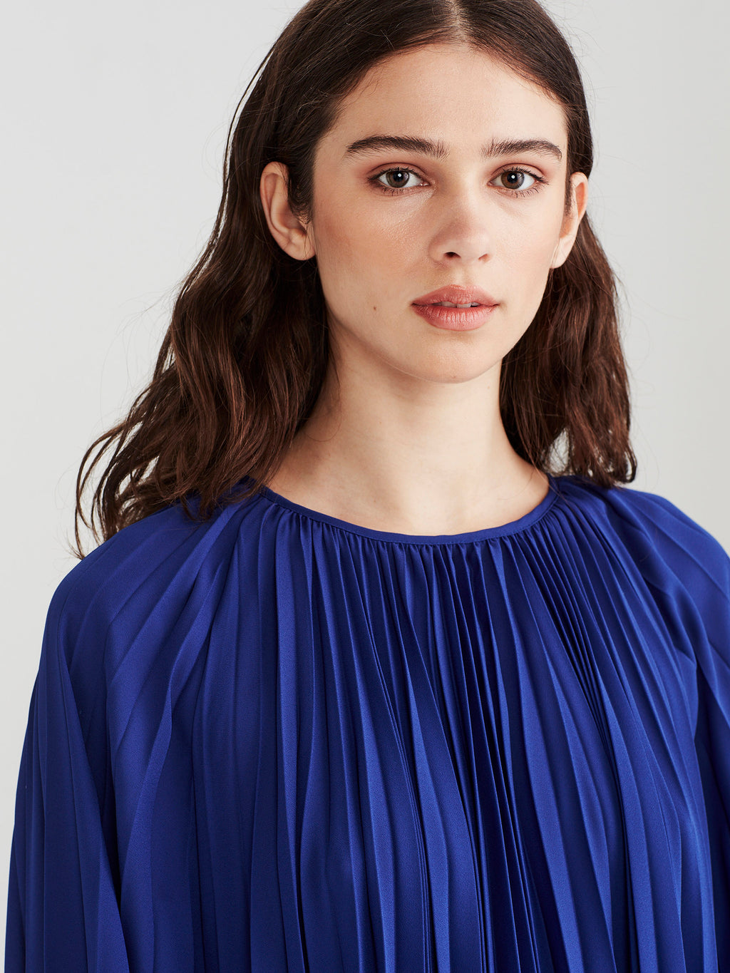 Gigi Pleat Dress (Matte Pleat) Electric Blue