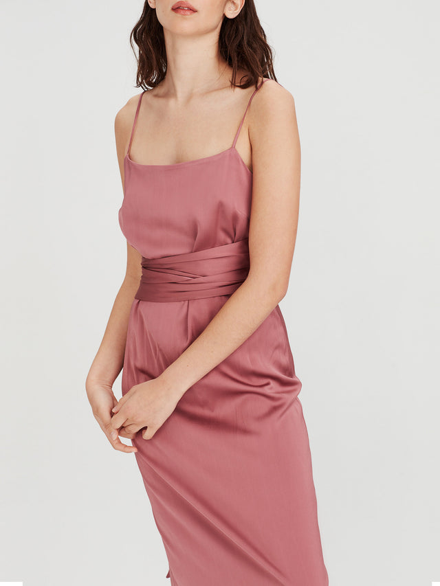 Grad Dress (Stretch Satin) Rose