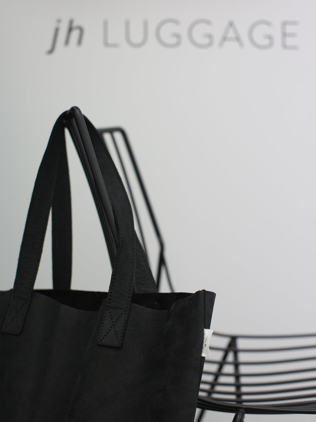 JH Leather Tote Bag (NuBuck Leather) Black