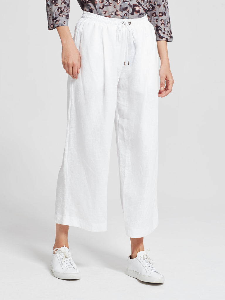 Carrie Culotte (Linen) White