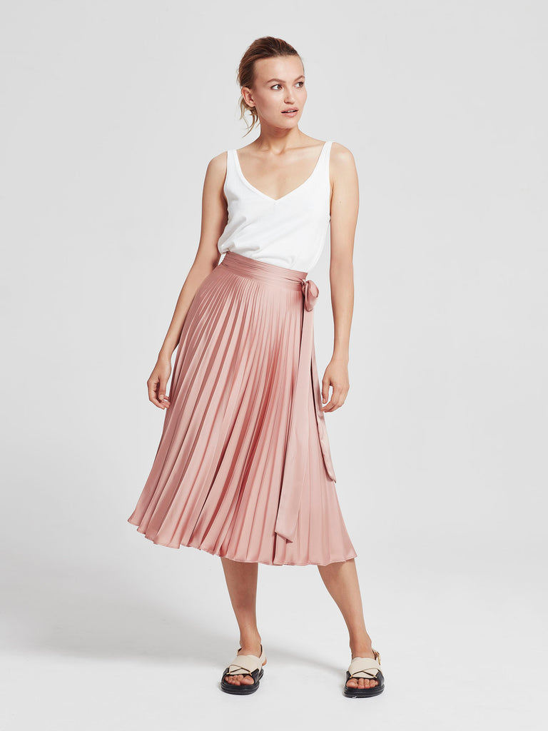 Cassia Wrap Skirt (Pleated Satin) Petal