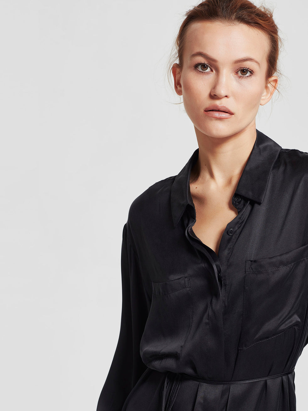 Miles Shirt Dress (Sandwash Silk) Black
