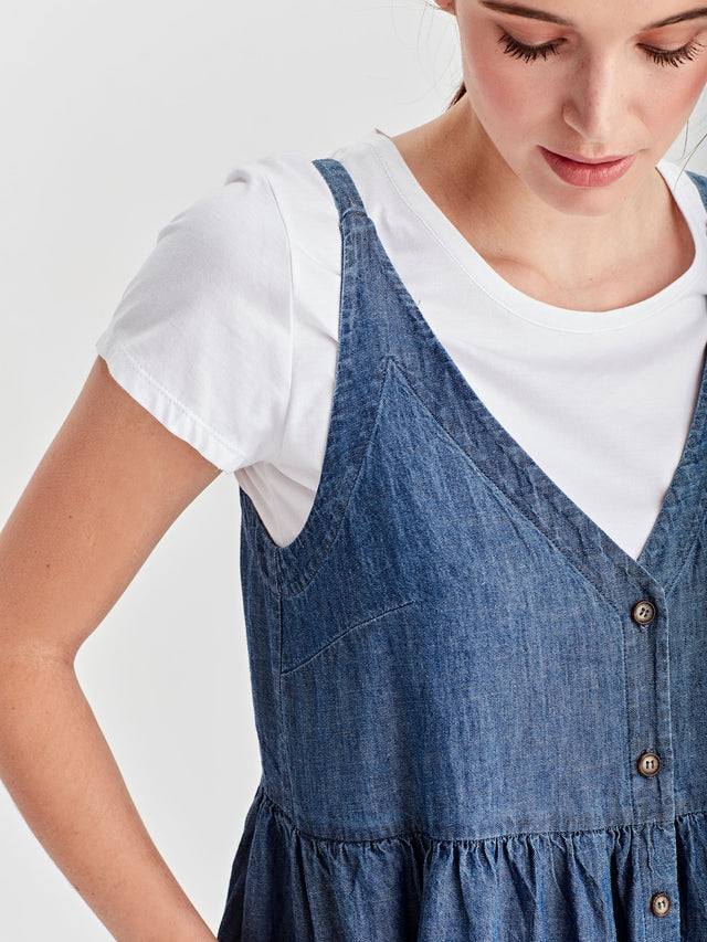 Palm Pinafore (Cotton Chambray) Chambray