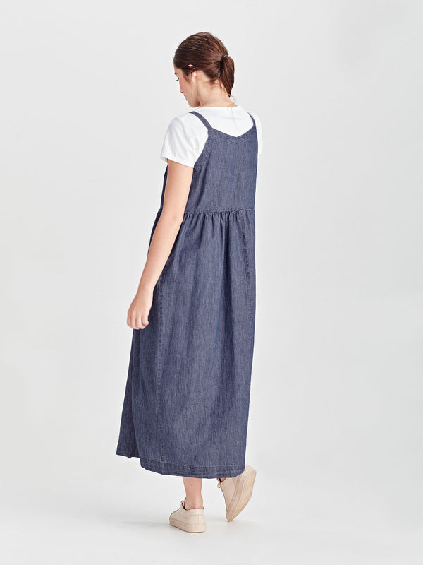 First Palm Pinafore (Cotton Chambray) Chambray
