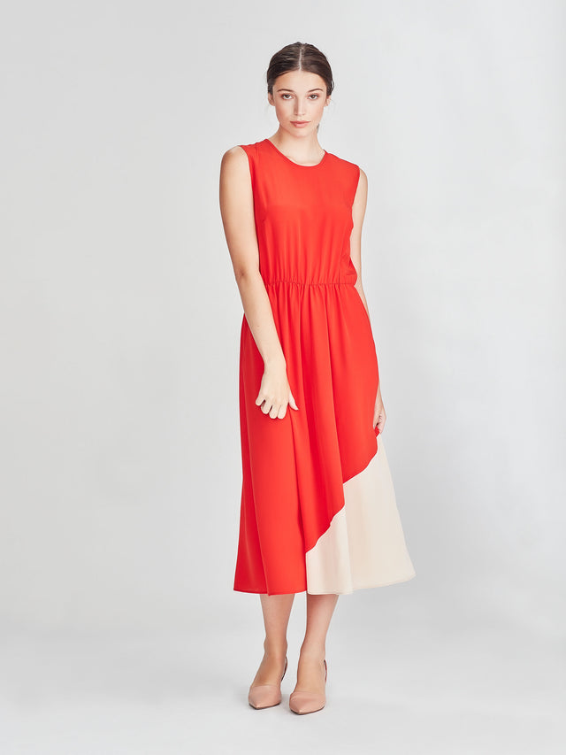 Amanda Tank Dress (Coloured Silk Crepe De Chine) Cherry/Shell