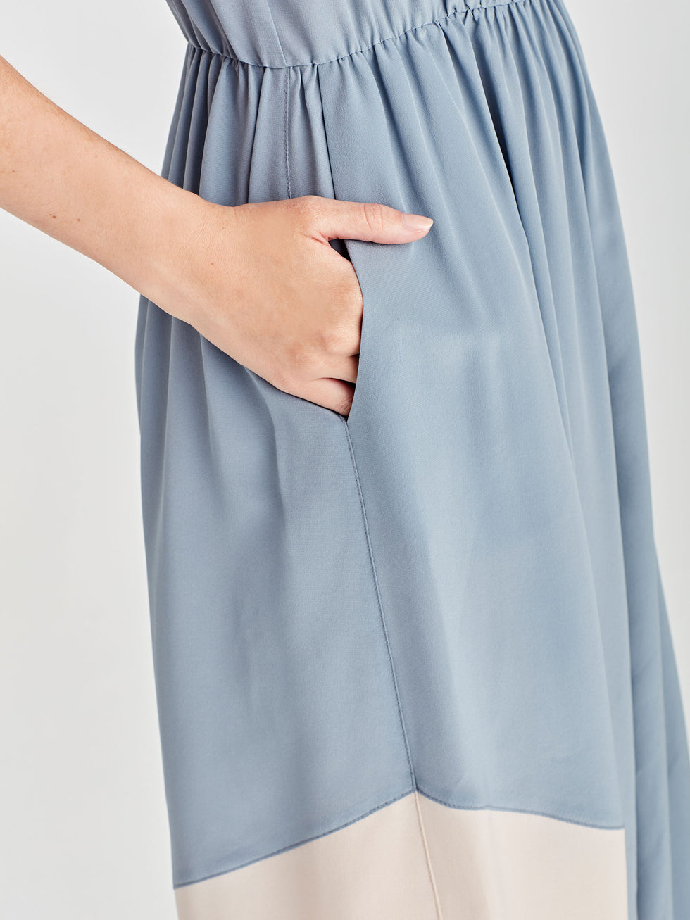 Amanda Tank Dress (Coloured Silk Crepe De Chine) Powder/Chalk