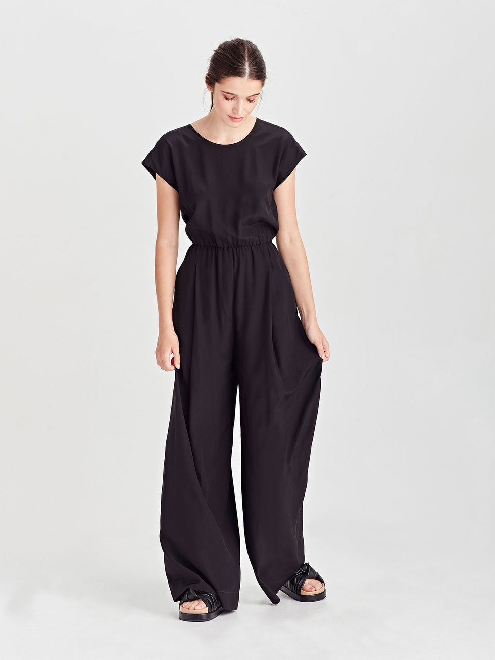 Jolene Jumpsuit (Silk Crepe De Chine) Black