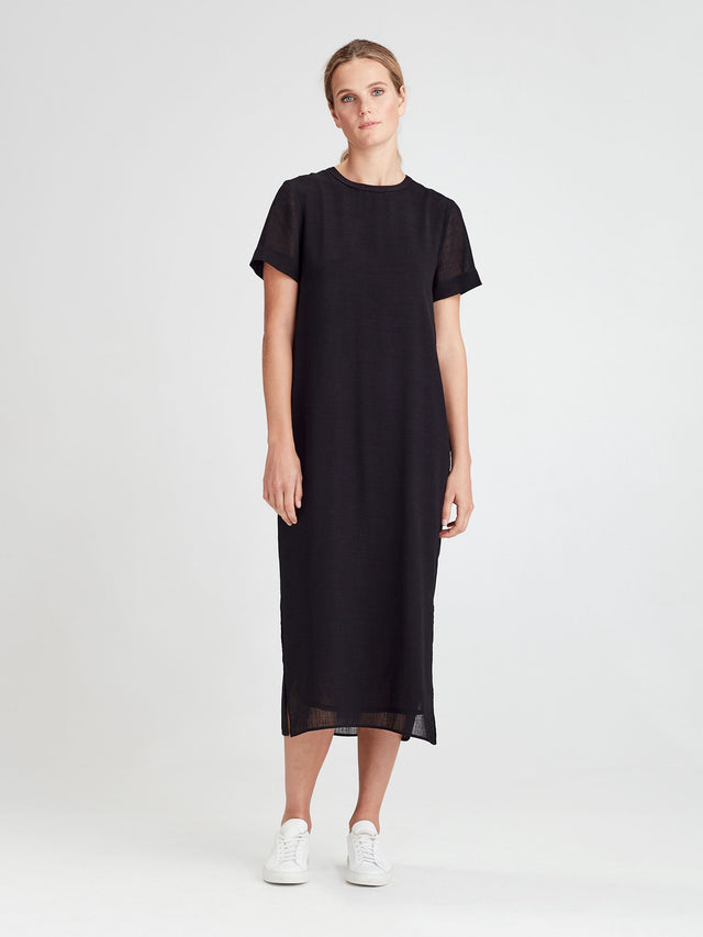 Mary Tunic (Cross Hatch Crepe) Black