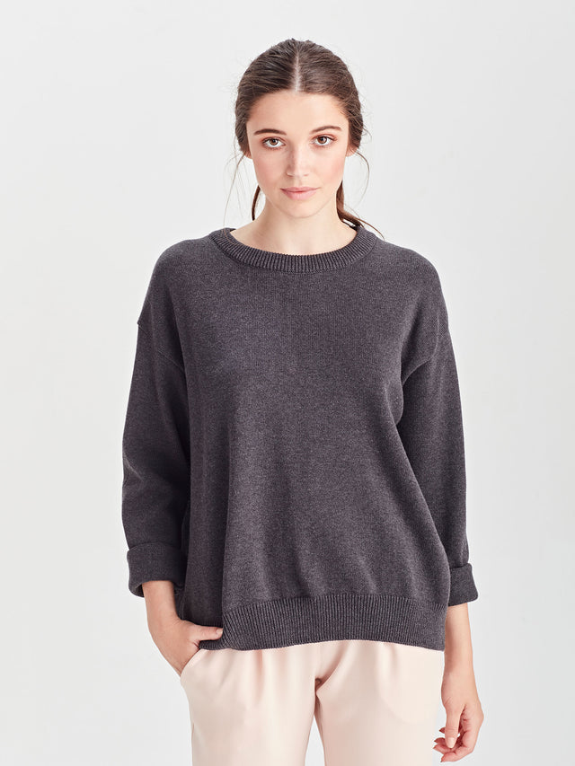 Cotton Sweatshirt (Cotton Knit) Charcoal