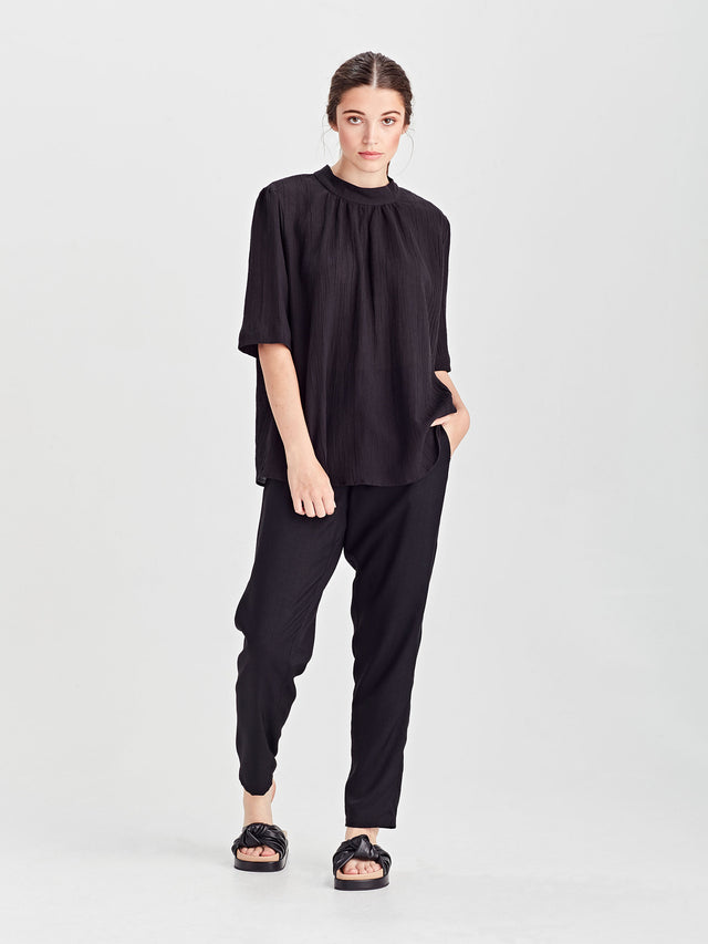 Al Blouse (Cotton Linen) Black