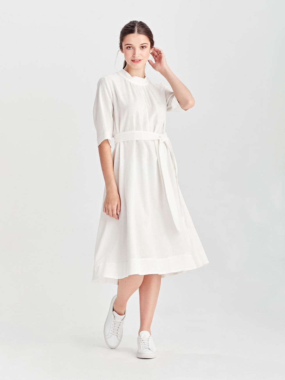 Alexa Dress (Cotton Linen) White