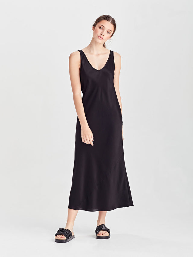 Vera Dress (Drape Satin) Black