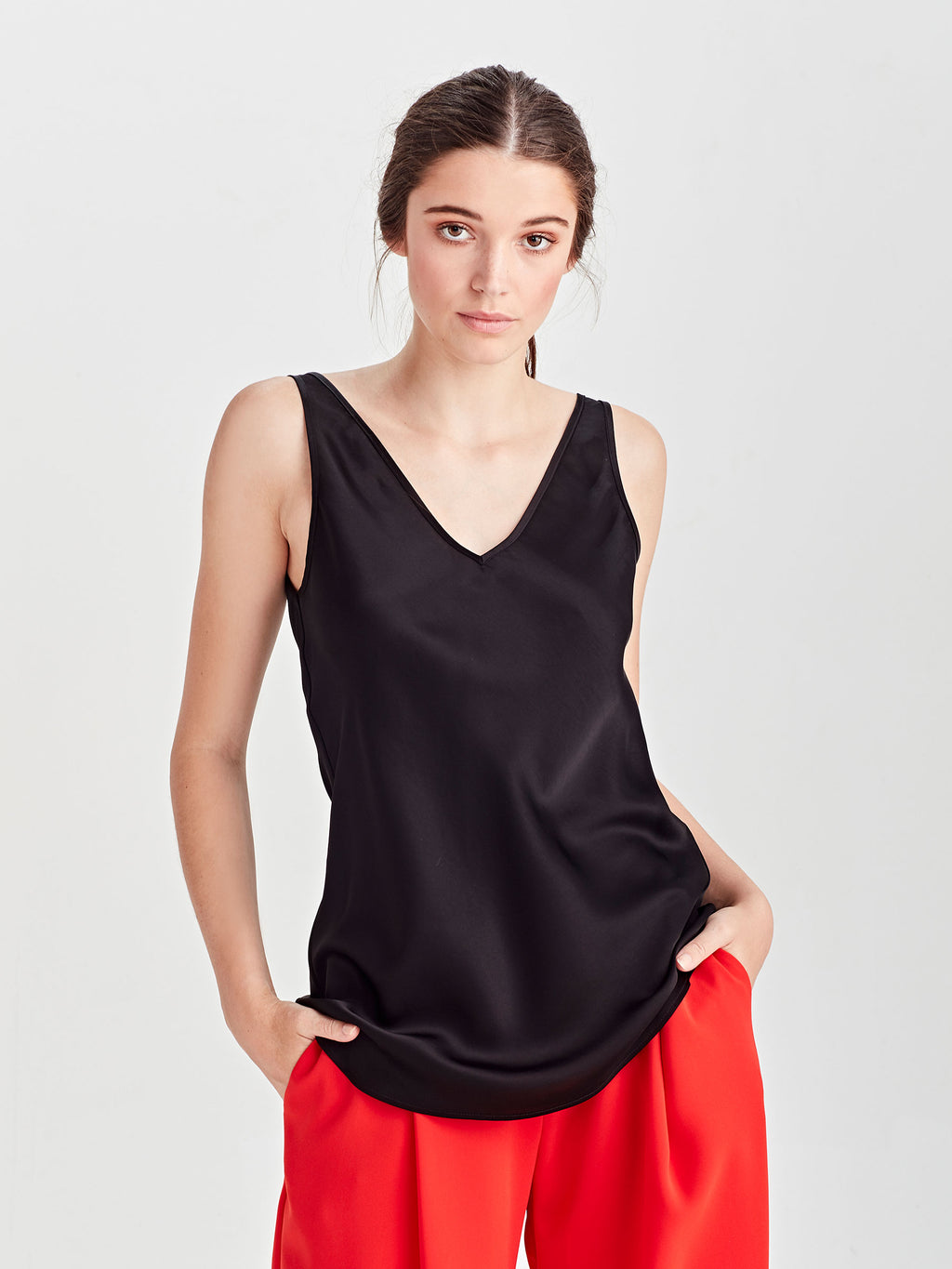 Verity Cami (Drape Satin) Black