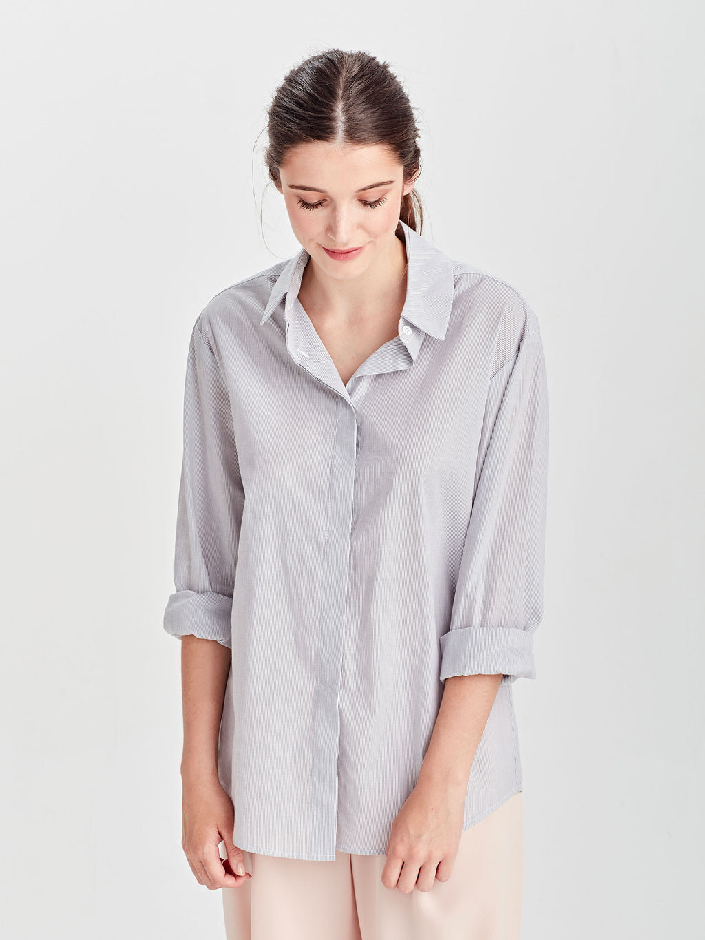 Cody Shirt (Fine Stripe Shirting) Grey/White