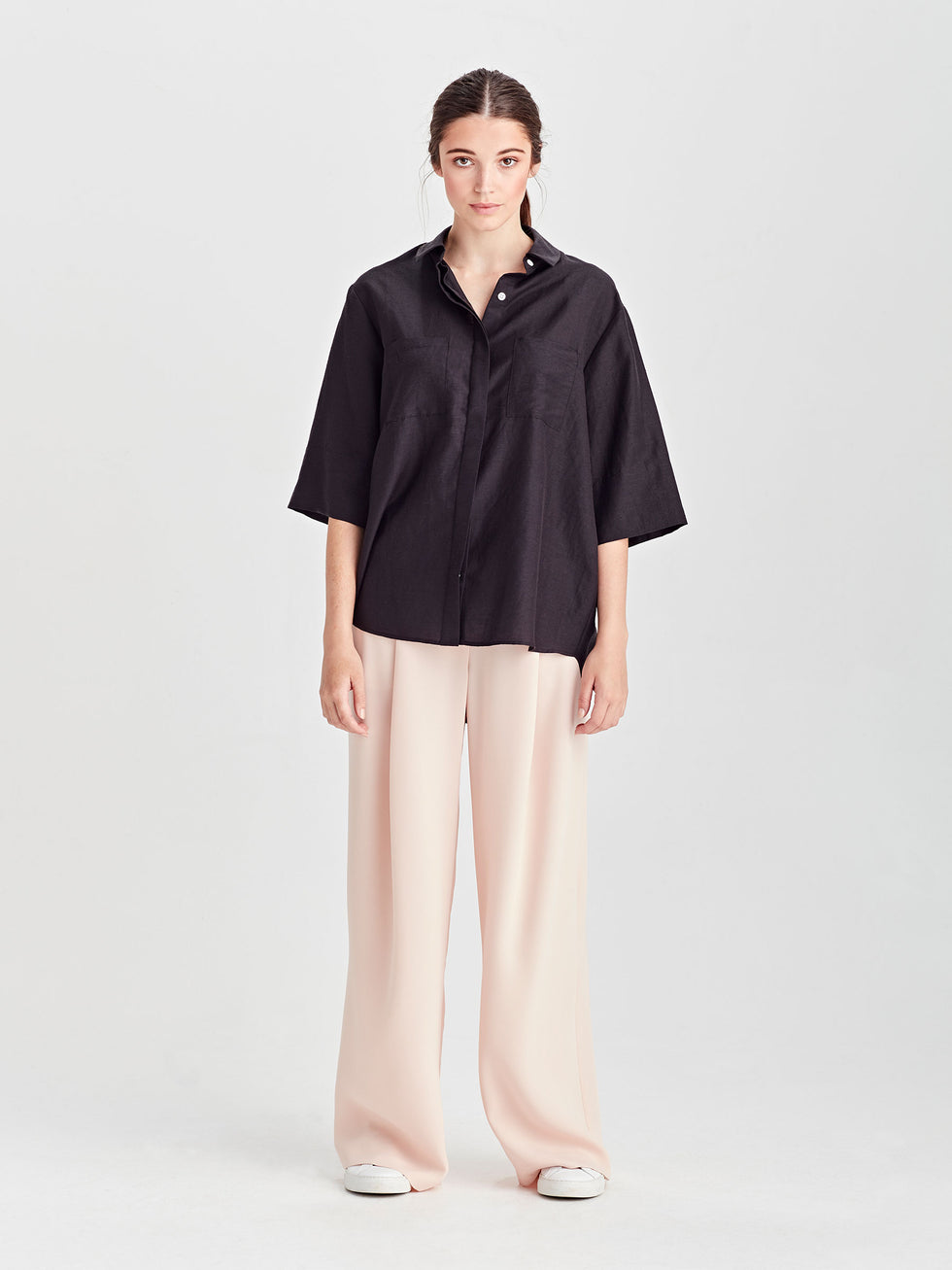 Eileen Shirt (Hemp Silk Shirting) Black