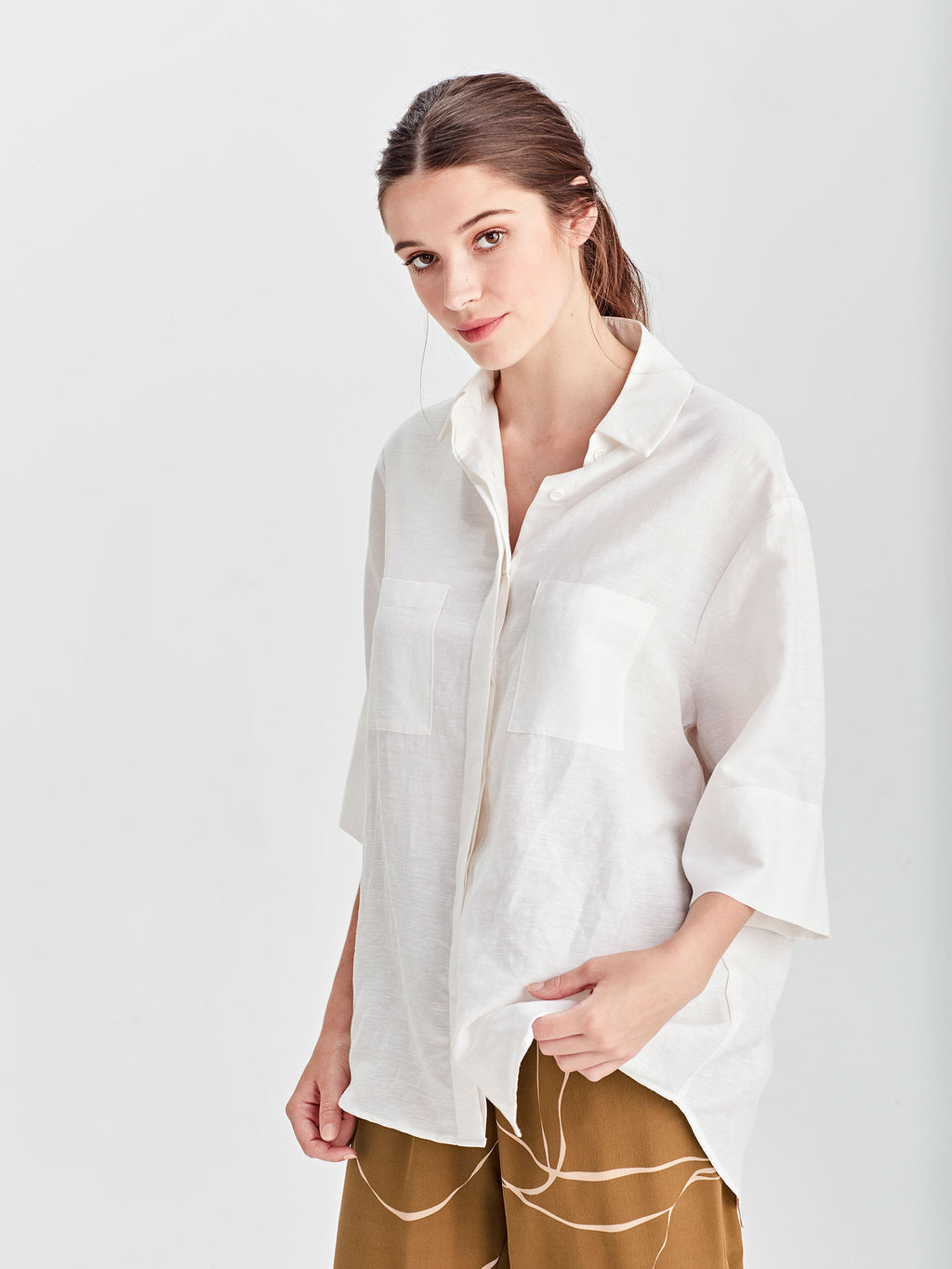 Eileen Shirt (Hemp Silk Shirting) Cream