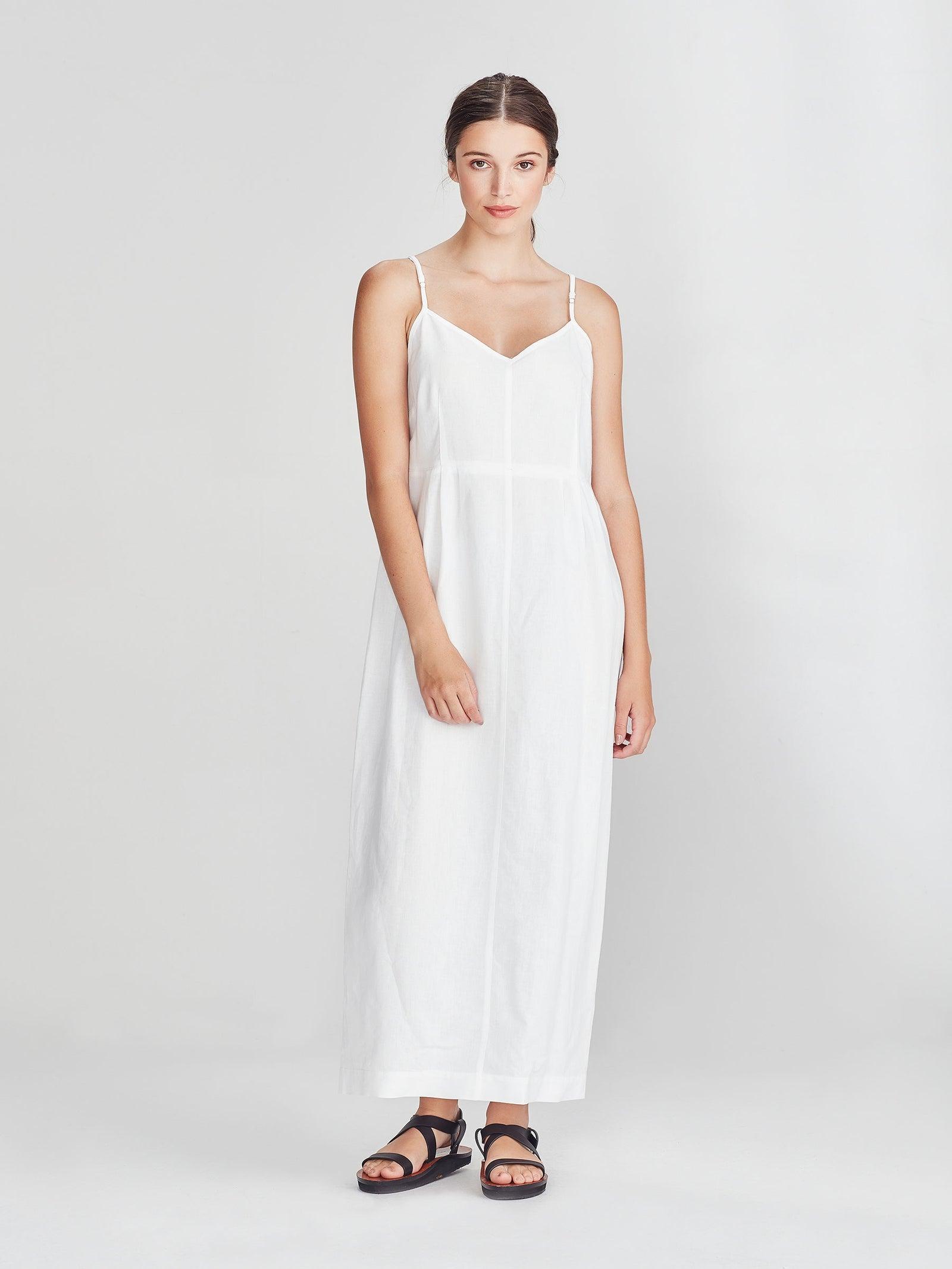Brenda Slip Dress (Linen Cotton) White