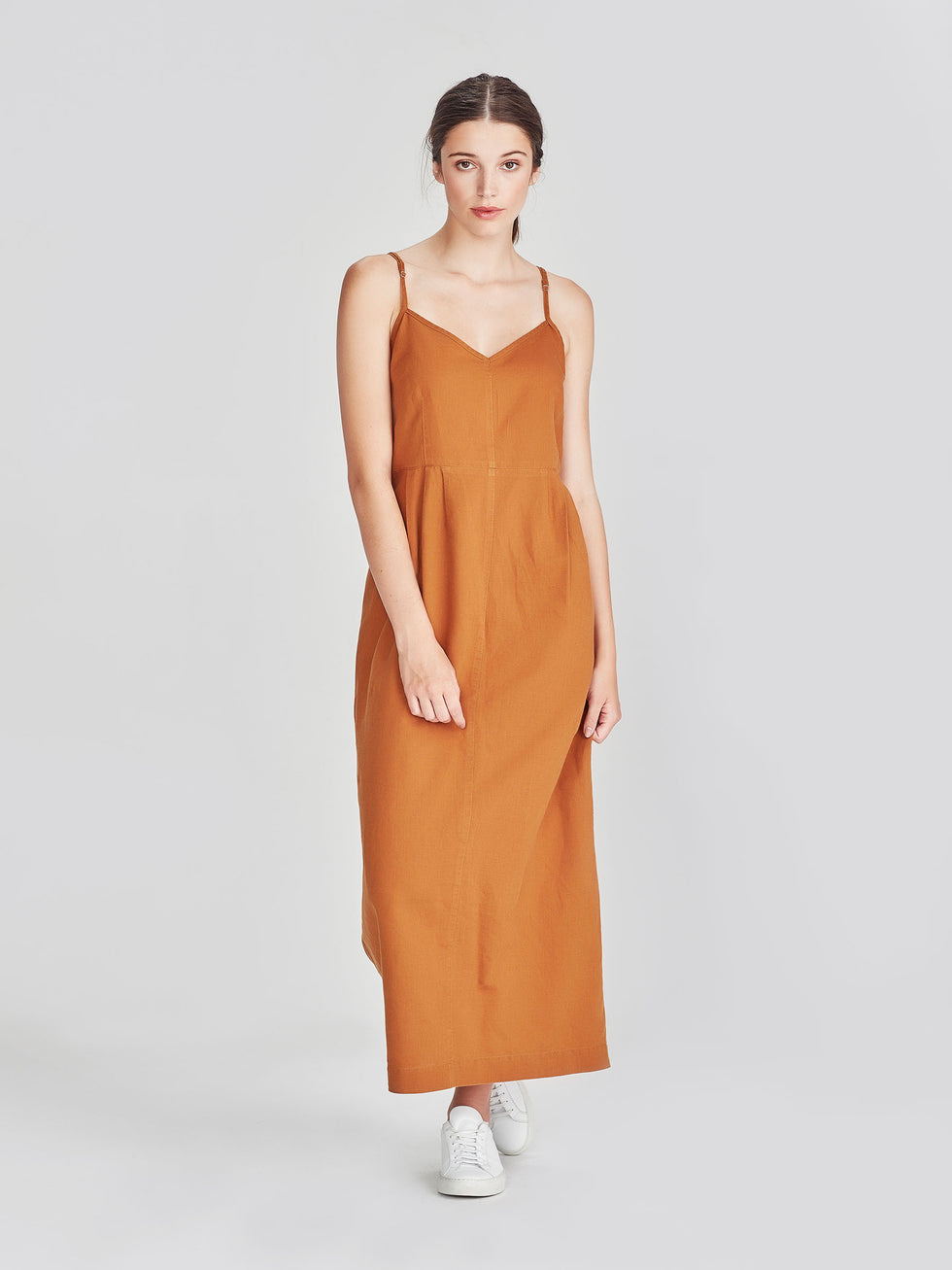 Brenda Slip Dress (Linen Cotton) Tobacco