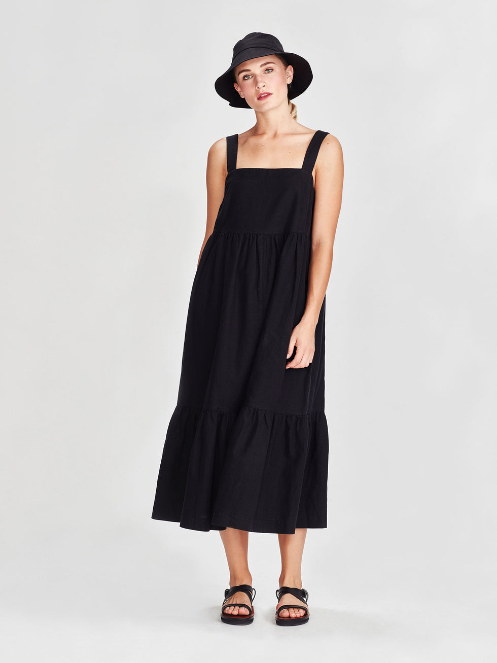 Erin Dress (Linen Cotton) Black