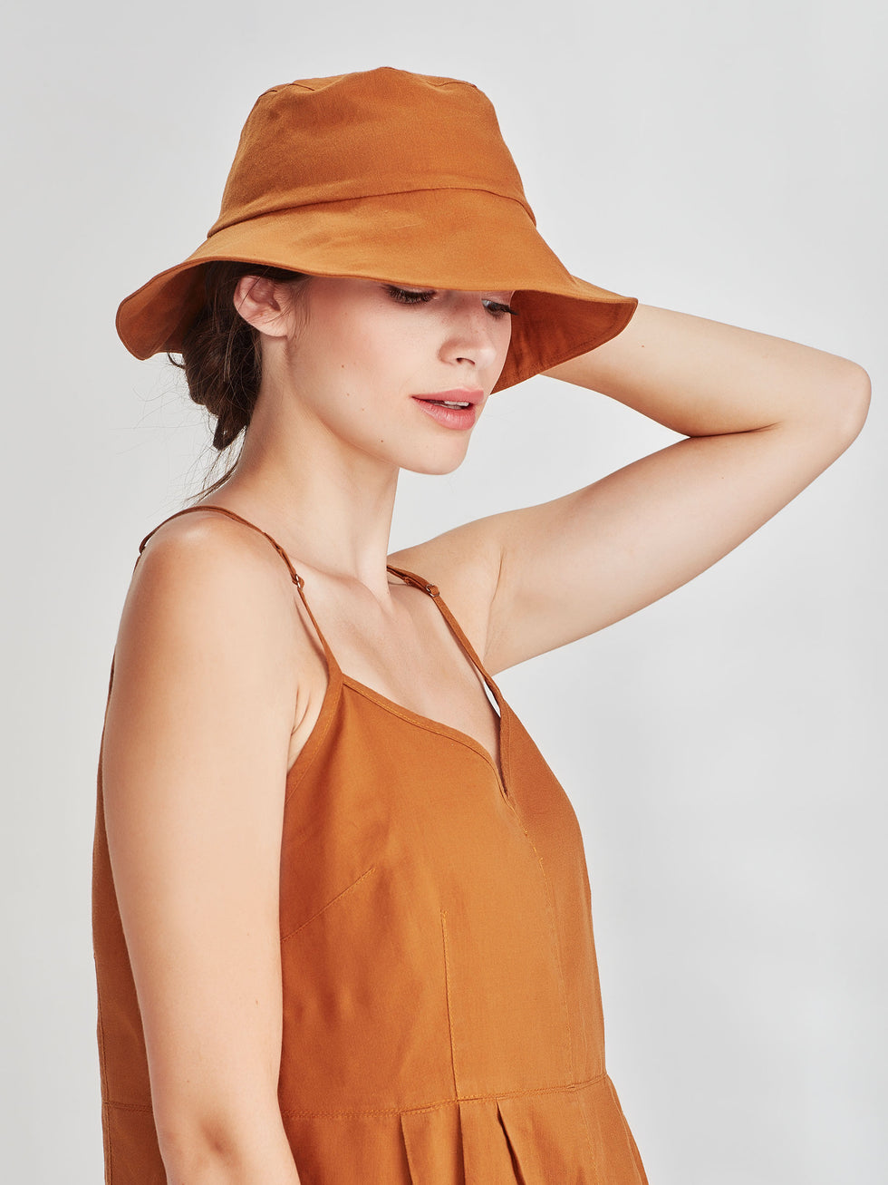 Bucket Hat (linen Cotton) Tobacco