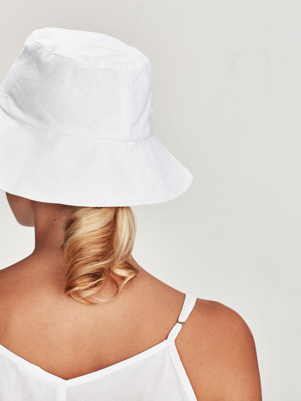 Bucket Hat (linen Cotton) White