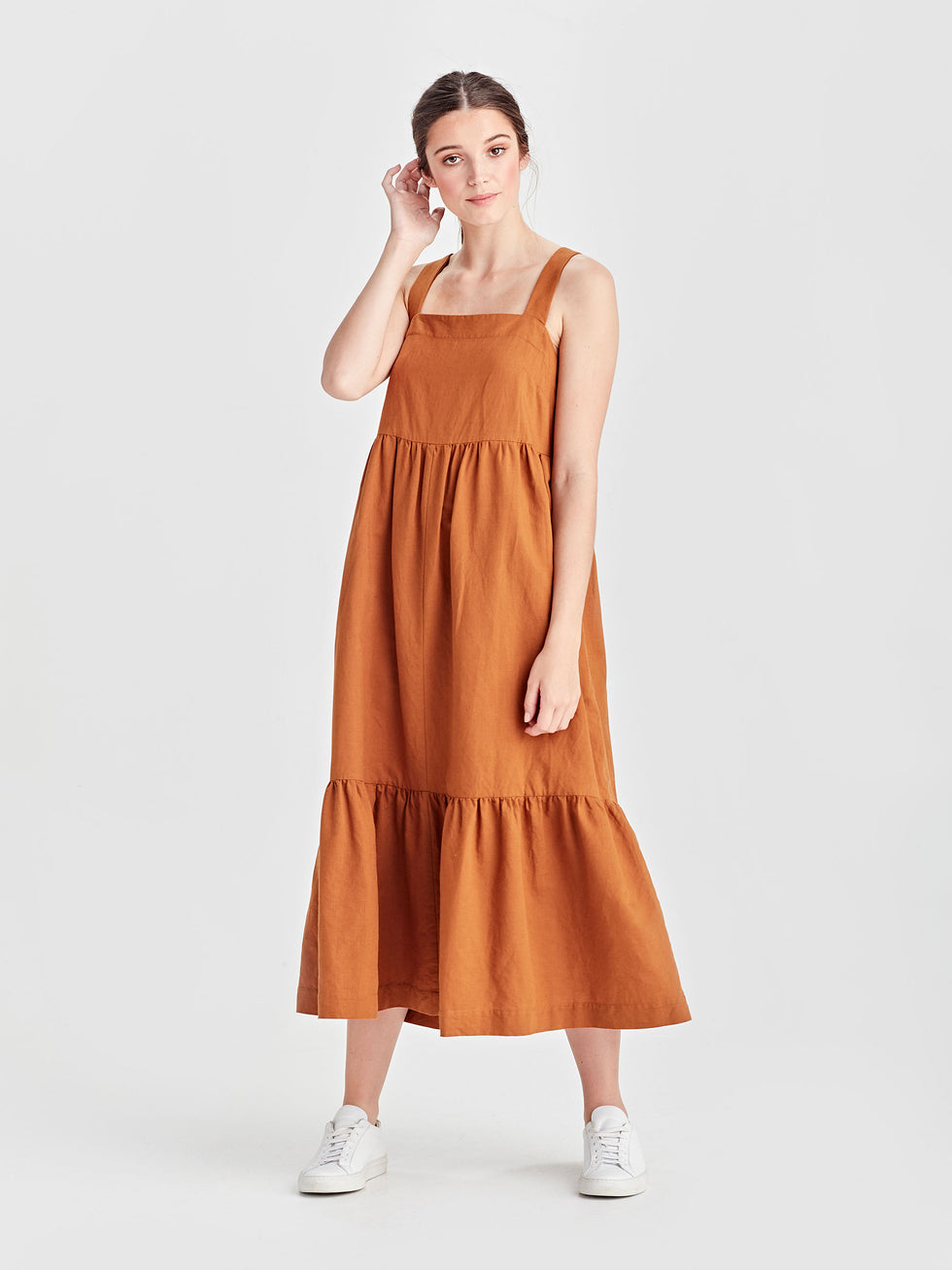 Erin Dress (Linen Cotton) Tobacco