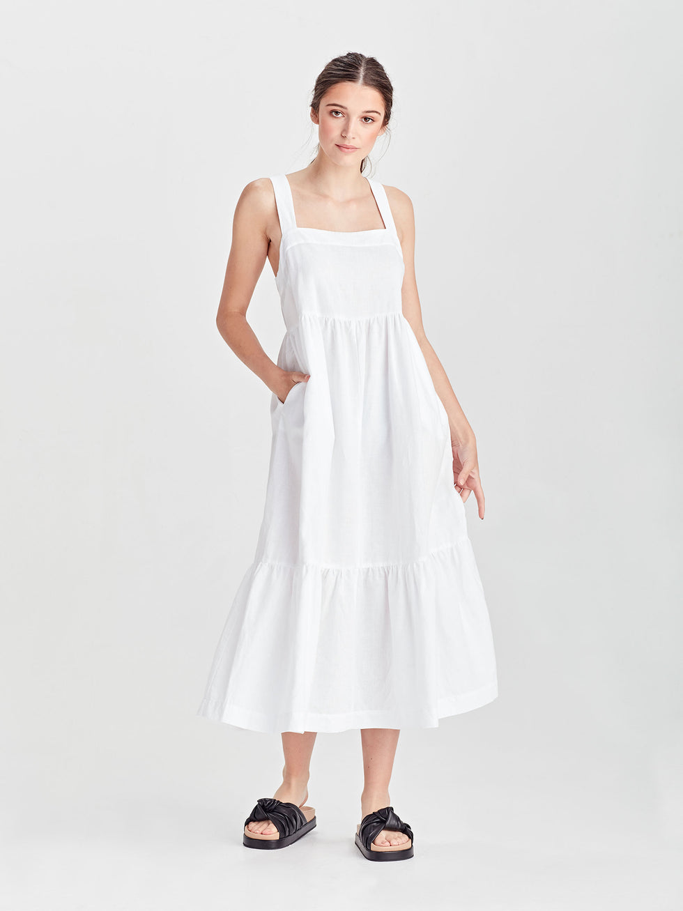 Erin Dress (Linen Cotton) White
