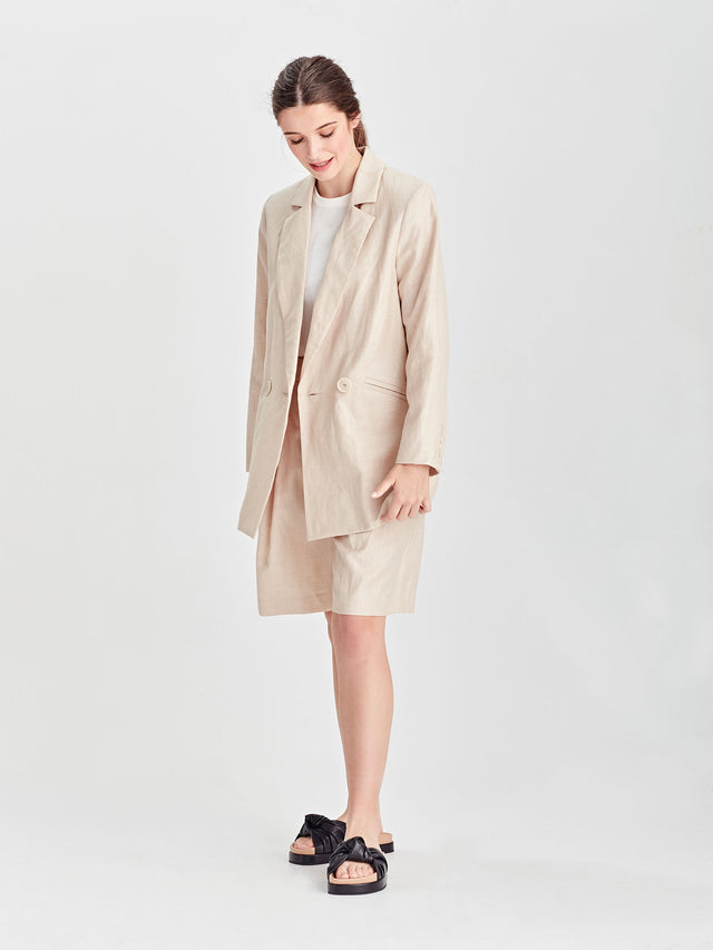 Keats Jacket (Linen Suiting) Sand