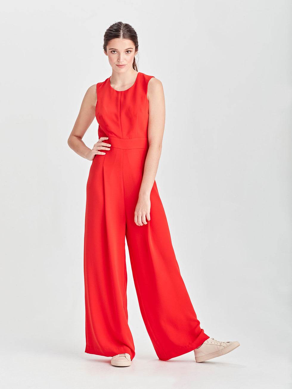 Juliana Jumpsuit (Luxe Coloured Suiting) Cherry