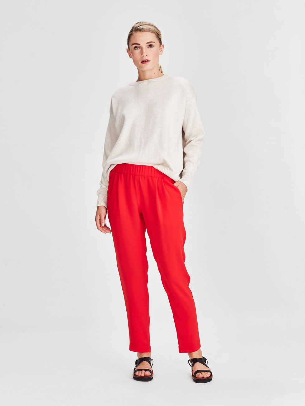 Malfoy Pant (Luxe Coloured Suiting) Cherry