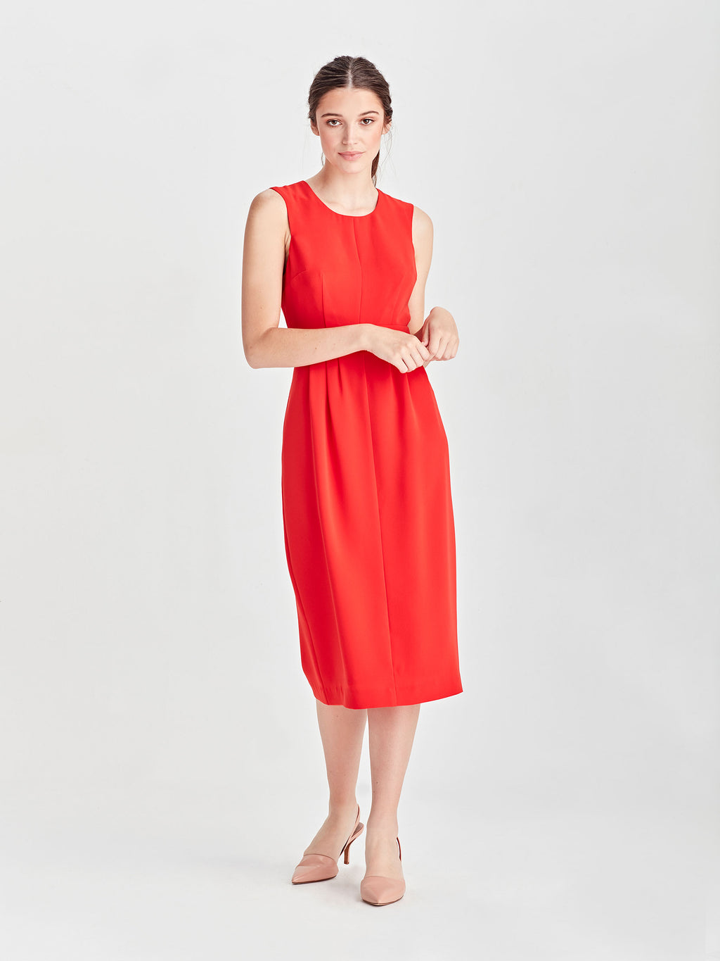 Nicole Dress (Luxe Coloured Suiting) Cherry