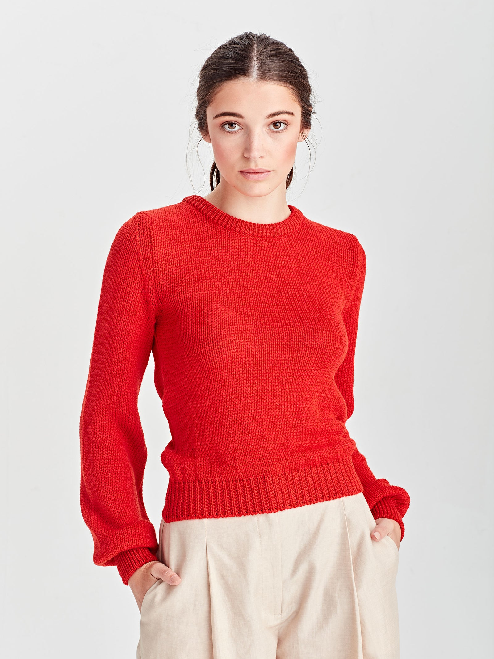 Heather Merino Sweater (Merino) Cherry