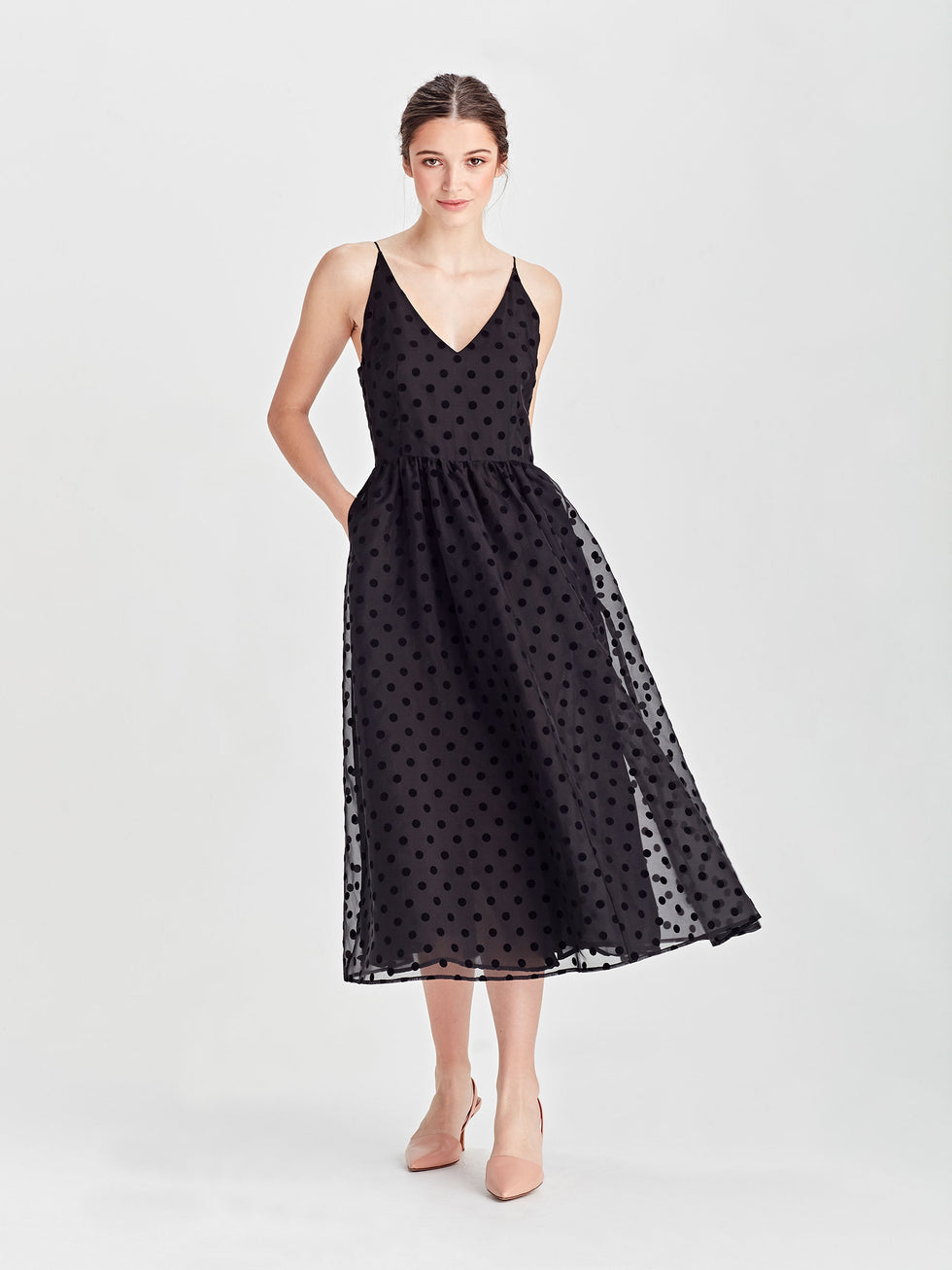 Bess Dress (Organza Velvet Spot) Black Velvet