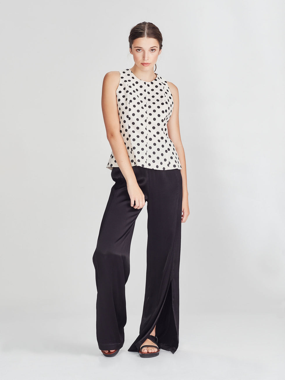 Dita Top (Polka Linen) Chalk/Black
