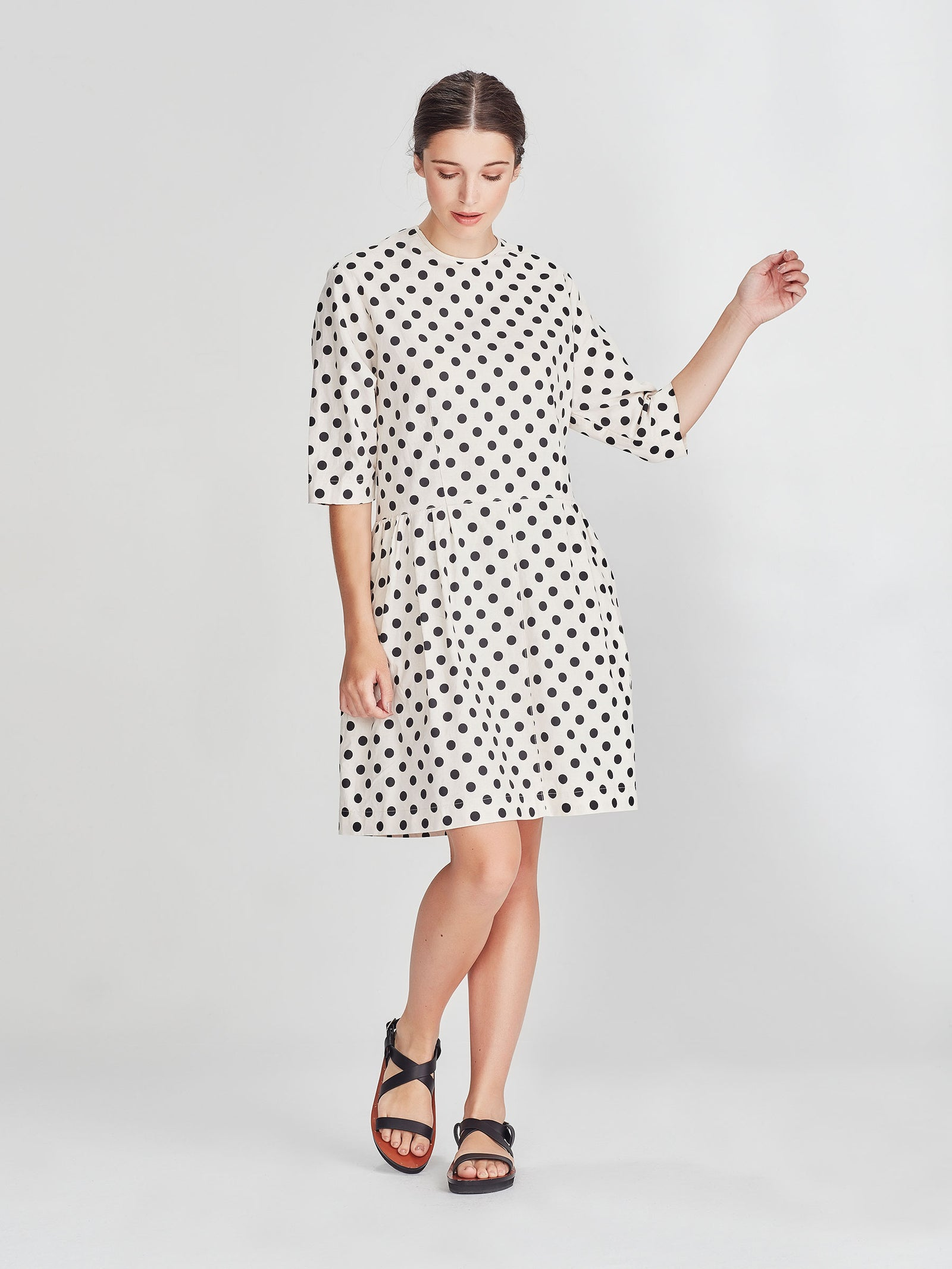 Peppy Tunic (Polka Linen) Chalk/Black