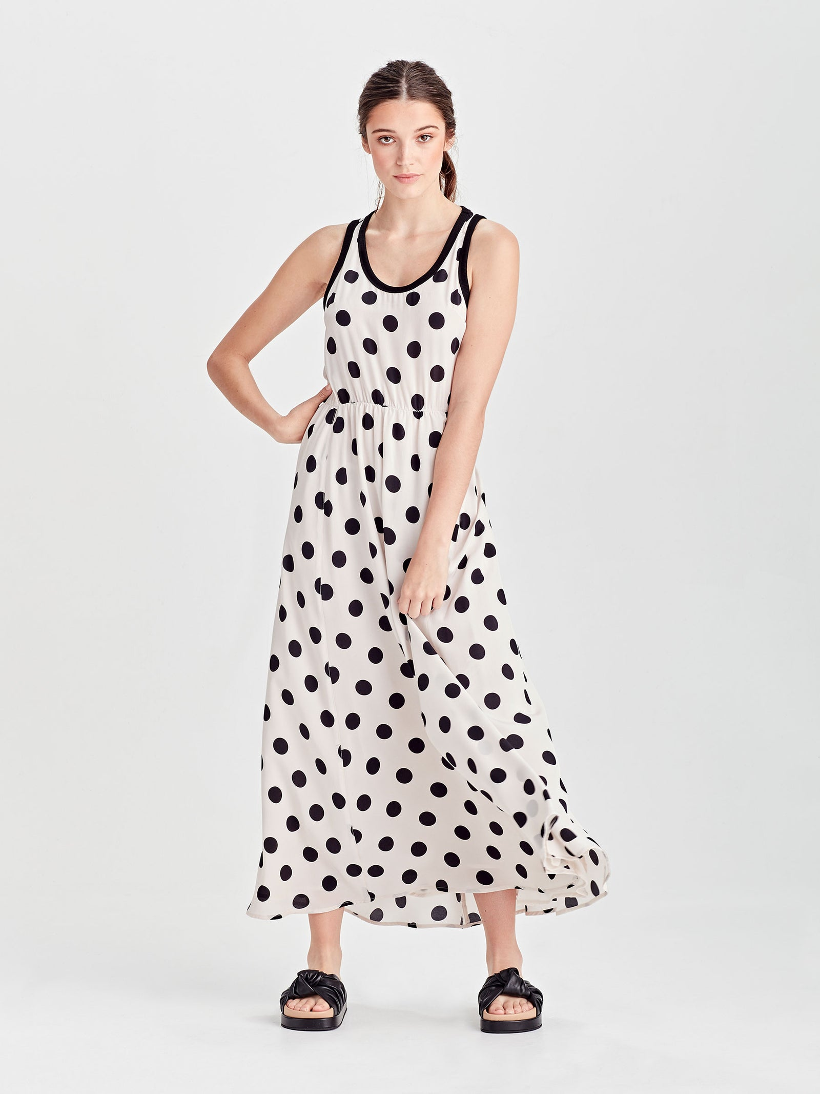 Lillian Dress (Polka Silk) Chalk/Black