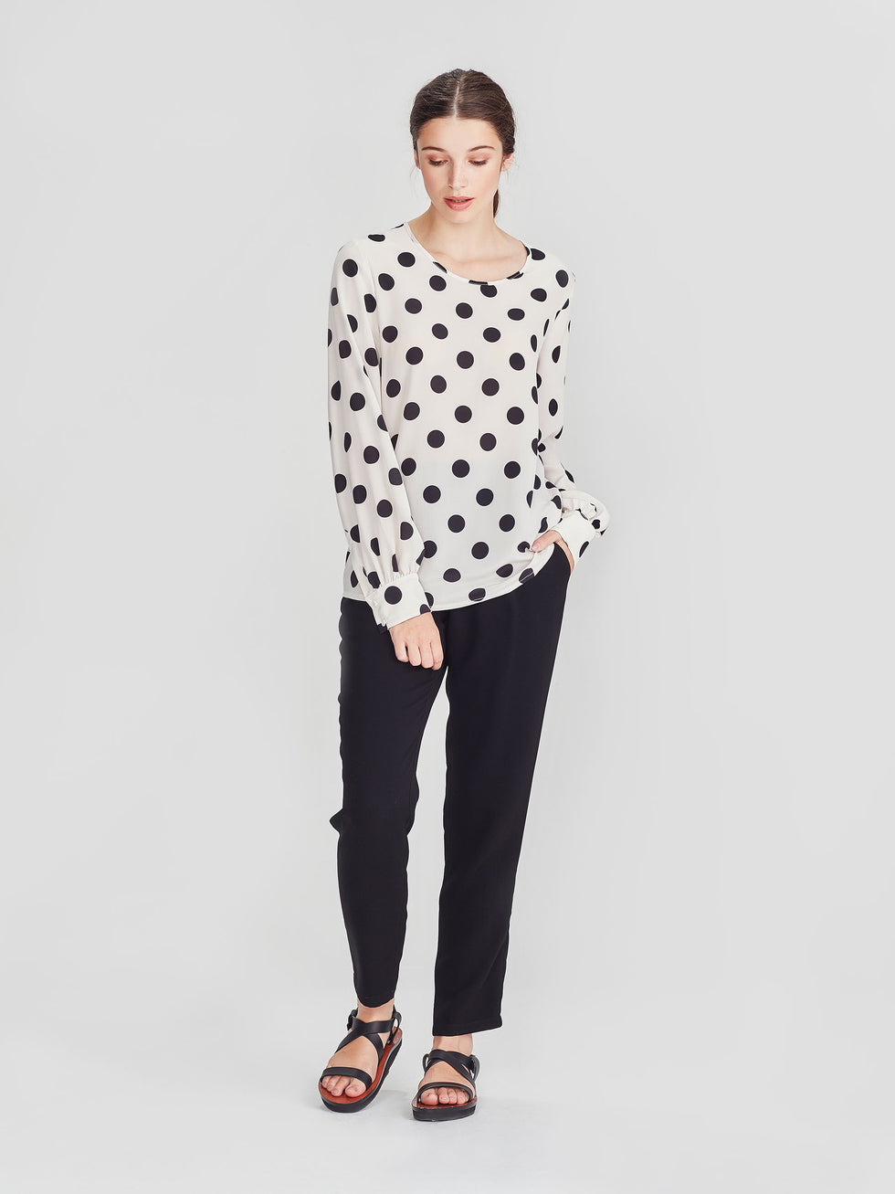 Lottie Shirt (Polka Silk) Chalk/Black