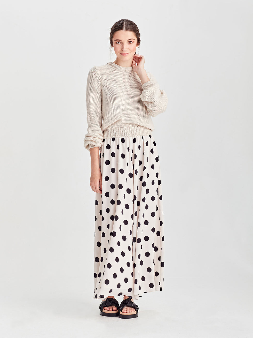 Vicky Skirt (Polka Silk) Chalk/Black
