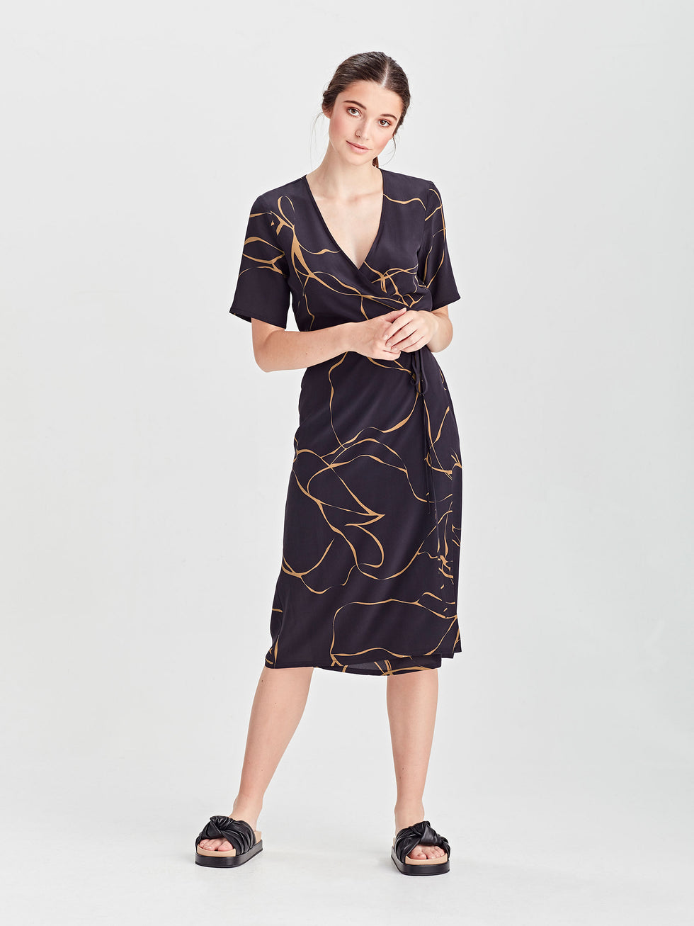 Dina Wrap Dress (Ribbon Poly) Admiral
