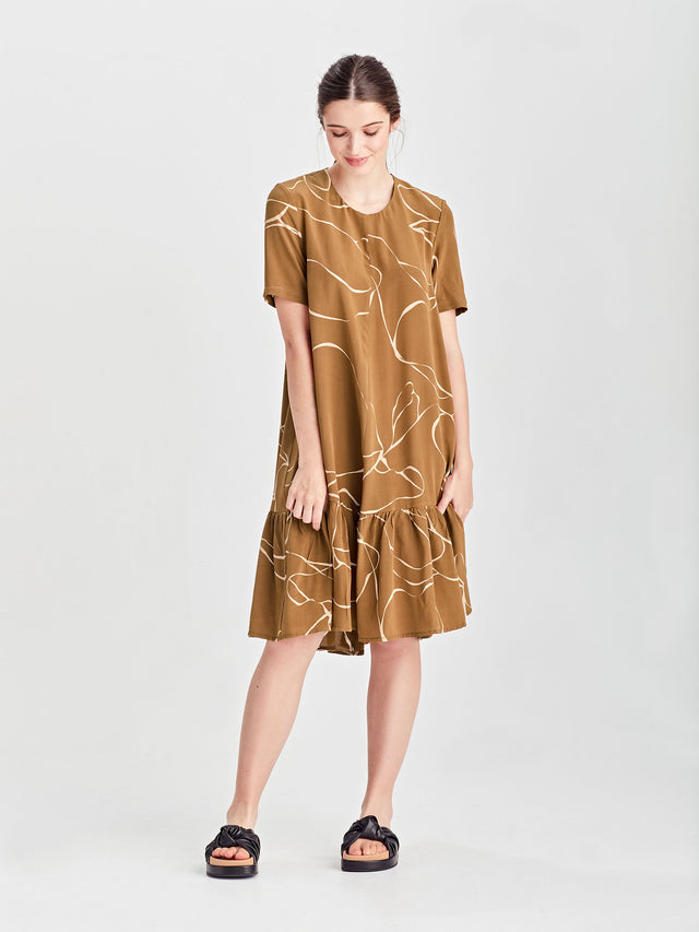 Ela Dress (Ribbon Poly) Tawny
