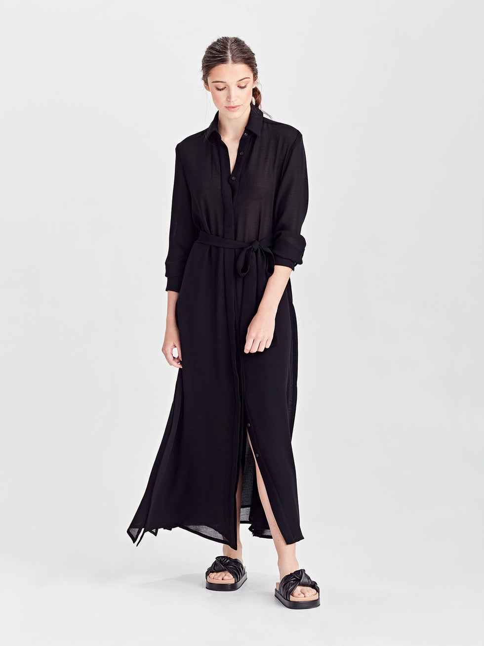 Liz Dress (Self Stripe Crepe) Black
