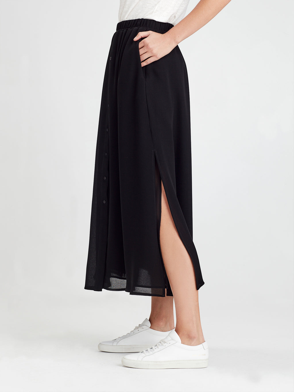 Liz Skirt (Self Stripe Crepe) Black
