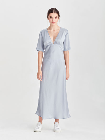 Mildred Shirt Dress (Fine Stripe Shirting) Grey/White