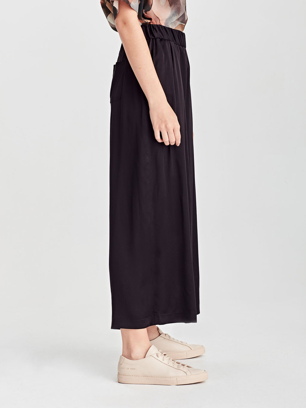 Wide Leg Ash Pant (Satin Triacetate) Black